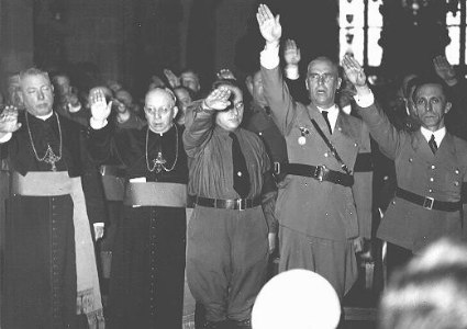 Nazi lawyer Wilhelm Frick (second right), Joseph Goebbels (far right) and  Catholic Bishops giving Nazi salute in honor of Hitler.